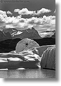 black and white, close ups, glaciers, latin america, moreno, moreno glacier, patagonia, vertical, photograph