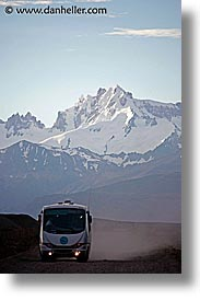 bus, latin america, mountains, patagonia, vertical, photograph