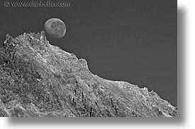 black and white, horizontal, latin america, moon, mountains, patagonia, photograph
