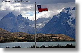 chilean, flags, horizontal, latin america, patagonia, torres del paine, photograph