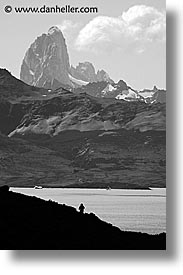 black and white, central, hiking, latin america, patagonia, torres, torres del paine, vertical, photograph