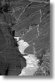 black and white, canyons, latin america, patagonia, rivers, torres del paine, vertical, photograph