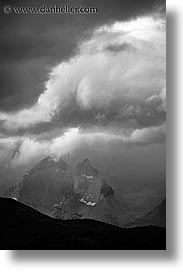 black and white, clouds, latin america, massif, patagonia, torres, torres del paine, vertical, photograph