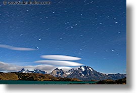 horizontal, latin america, long exposure, massif, nite, patagonia, star trails, stars, torres, torres del paine, trails, photograph