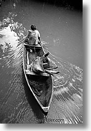 amazon, black and white, jungle, latin america, old, peru, river people, rivers, rowers, vertical, photograph