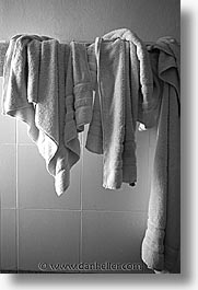 black and white, capital of peru, cities, cityscapes, cuzco, hangings, hotels, latin america, peru, peruvian capital, towels, towns, vertical, photograph