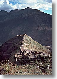 ancient ruins, andes, architectural ruins, inca trail, incan tribes, latin america, mountains, peru, pisac, pisaq, stone ruins, vertical, photograph