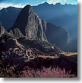 ancient ruins, andes, architectural ruins, inca trail, incan tribes, latin america, machu picchu, mountains, peru, picchu, square format, stone ruins, photograph
