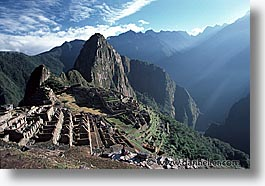 ancient ruins, andes, architectural ruins, horizontal, inca trail, incan tribes, latin america, machu picchu, mountains, peru, picchu, stone ruins, photograph