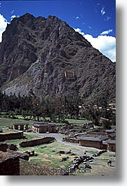 ancient ruins, andes, architectural ruins, inca trail, incan tribes, latin america, mountains, ollantaytambo, peru, stone ruins, vertical, photograph