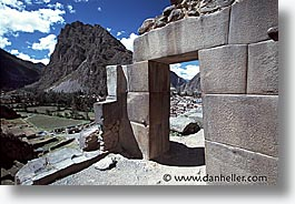 ancient ruins, andes, architectural ruins, horizontal, inca trail, incan tribes, latin america, mountains, ollantaytambo, peru, stone ruins, photograph