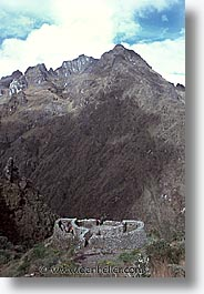 ancient ruins, andes, architectural ruins, inca trail, incan tribes, latin america, mountains, peru, runkuracay, stone ruins, vertical, photograph