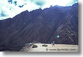 ancient ruins, andes, architectural ruins, barrie, horizontal, inca trail, incan tribes, kites, latin america, mountains, people, peru, stone ruins, photograph