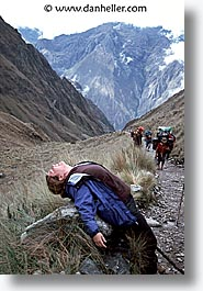 ancient ruins, andes, architectural ruins, barrie, dead, inca trail, incan tribes, latin america, mountains, pass, people, peru, stone ruins, vertical, womens, photograph