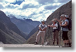 ancient ruins, andes, architectural ruins, groups, hikers, horizontal, inca trail, incan tribes, latin america, mountains, people, peru, stone ruins, photograph
