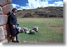 ancient ruins, andes, architectural ruins, geoff, horizontal, inca trail, incan tribes, latin america, mountains, people, peru, stone ruins, photograph