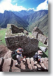 ancient ruins, andes, architectural ruins, inca trail, incan tribes, latin america, mountains, peru, stone ruins, vertical, winaywayna, photograph
