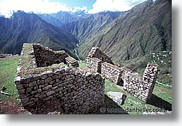 ancient ruins, andes, architectural ruins, horizontal, inca trail, incan tribes, latin america, mountains, peru, stone ruins, winaywayna, photograph