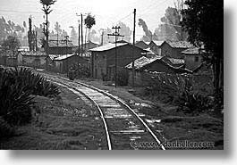 black and white, horizontal, latin america, peru, train tracks, trains, photograph