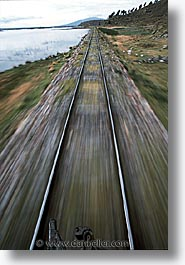 latin america, motion blur, peru, train tracks, trains, vertical, photograph