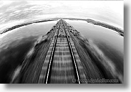 black and white, horizontal, latin america, motion blur, peru, train tracks, trains, photograph