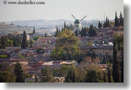 cityscapes, hillside, horizontal, israel, jerusalem, middle east, windmills, photograph