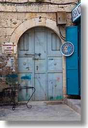 arches, archways, armenian, arts, center, doors, israel, jerusalem, middle east, signs, structures, vertical, photograph