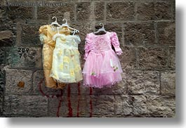 dresses, girls, hangings, horizontal, israel, jerusalem, merchandise, middle east, photograph