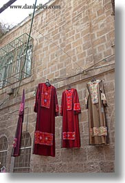 dresses, hangings, israel, jerusalem, merchandise, middle east, vertical, womens, photograph
