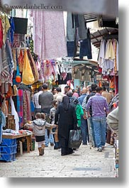 clothes, hangings, israel, jerusalem, merchandise, middle east, muslim, pedestrians, vertical, photograph