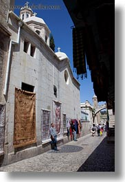 churches, hangings, israel, jerusalem, merchandise, middle east, rugs, vertical, walls, photograph