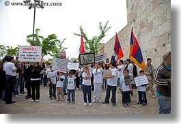 armenian, flags, horizontal, israel, jerusalem, middle east, people, protest, photograph
