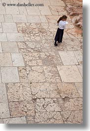 girls, israel, jerusalem, jewish, middle east, people, religious, stones, tiles, vertical, photograph