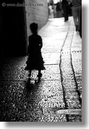 black and white, cobblestones, girls, israel, jerusalem, middle east, people, silhouettes, streets, vertical, photograph
