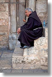 israel, jerusalem, middle east, monks, people, sitting, vertical, photograph