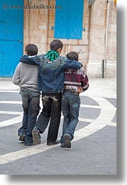 boys, israel, jerusalem, middle east, people, threes, vertical, walking, photograph