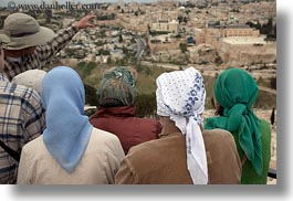 cityscapes, horizontal, israel, jerusalem, middle east, muslim, people, religious, scarves, viewing, womens, photograph