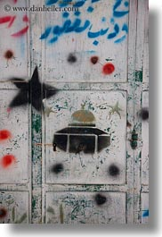 dome of the rock, domes, graffiti, israel, jerusalem, middle east, mosques, muslim, religious, religious sites, vertical, photograph