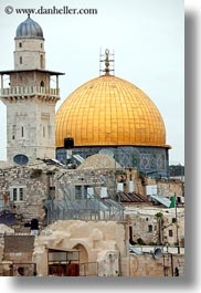 dome of the rock, domes, israel, jerusalem, middle east, mosques, muslim, religious, religious sites, rooftops, vertical, photograph