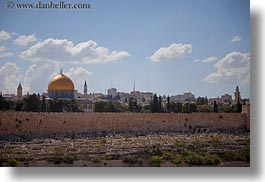 dome of the rock, domes, horizontal, israel, jerusalem, middle east, mosques, muslim, religious, religious sites, walls, photograph