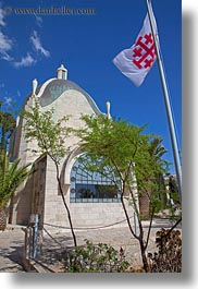 churches, dominus flevit, flags, franciscan, israel, jerusalem, middle east, religious sites, vertical, photograph