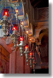 buildings, catholic, churches, glow, hangings, holy sepulchre, israel, jerusalem, lamps, lights, middle east, red, religious, religious sites, structures, vertical, photograph