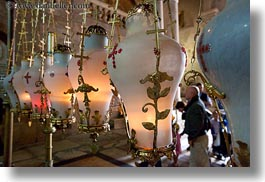 buildings, catholic, churches, holy sepulchre, horizontal, israel, jerusalem, lamps, middle east, over, religious, religious sites, stones, structures, unction, photograph
