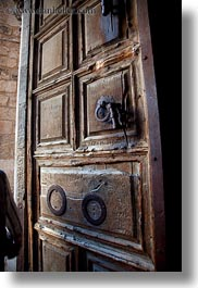 buildings, catholic, churches, doors, holy sepulchre, israel, jerusalem, middle east, old, religious, religious sites, structures, vertical, woods, photograph