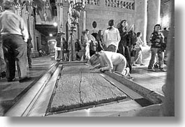 black and white, buildings, catholic, churches, holy sepulchre, horizontal, israel, jerusalem, middle east, religious, religious sites, stones, structures, unction, photograph
