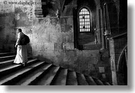 black and white, buildings, catholic, christian, churches, horizontal, israel, jerusalem, marys tomb, middle east, monks, religious, religious sites, stairs, structures, walking, photograph
