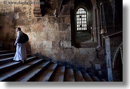 buildings, catholic, christian, churches, horizontal, israel, jerusalem, marys tomb, middle east, monks, religious, religious sites, stairs, structures, walking, photograph