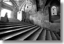black and white, buildings, catholic, christian, churches, glow, horizontal, israel, jerusalem, lights, marys tomb, middle east, nuns, religious, religious sites, sitting, stairs, structures, photograph