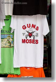 emotions, guns, humor, israel, jerusalem, middle east, moses, shirts, signs, vertical, photograph