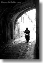 black and white, israel, jerusalem, middle east, motorcycles, streets, tunnel, vertical, photograph